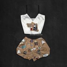 Шелковая женская пижама с принтом Кино Кот оптом