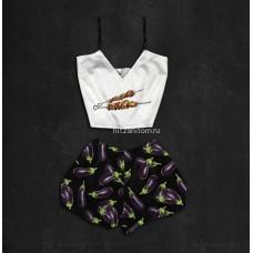 Шелковая женская пижама с принтом Шашлык оптом