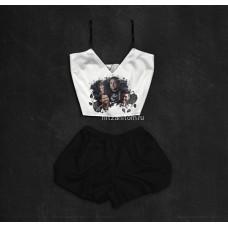 Шелковая женская пижама с принтом Сверхъестественное оптом