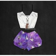 Шелковая женская пижама с принтом Лама оптом