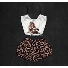 Шелковая женская пижама с принтом Мопс 2.0 оптом