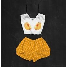Шелковая женская пижама с принтом Персики оптом