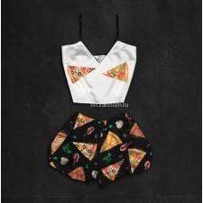 Шелковая женская пижама с принтом Пицца оптом