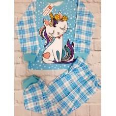 Пижама тонкая «Кошка-единорог» 6 шт в уп (3-8) оптом