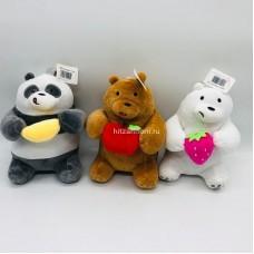 """Мягкая игрушка """"Три медведя"""" с фруктами 20 см (арт. YE80527-4) оптом"""