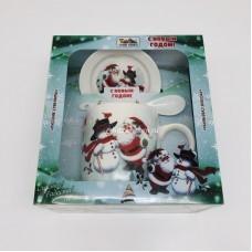 """Подарочный набор - посуда """"Дед Мороз и Снеговик"""" (арт. AZ-2021-4) оптом"""