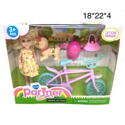 Кукла на велосипеде с щенком (арт. TQ001F) оптом