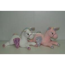 """Мягкая игрушка """"Единорог"""" с радужным рогом лежачий 40 см оптом"""