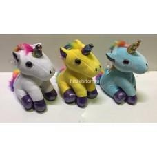 """Мягкая игрушка """"Единорог"""" с блестящими лапками и радужным хвостиком 24 см оптом"""