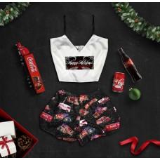 Шелковая женская пижама с принтом Кока-кола оптом