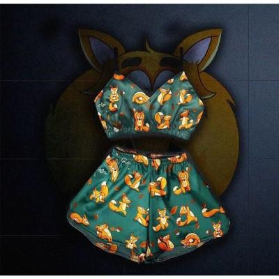 Женская пижама Fox (короткий топ) оптом