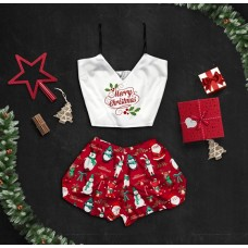 Шелковая женская пижама с принтом Счастливого рождества оптом