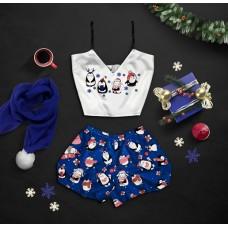 Шелковая женская пижама с принтом Пингвины оптом