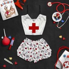 """Шелковая женская пижама с принтом """"Скорая помощь""""оптом"""