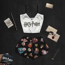 """Шелковая женская пижама с принтом """"Гарри Поттер"""" оптом"""