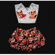 Женская пижама Лисички с сердечками оптом