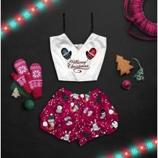 Шелковая женская пижама с принтом Счастливого рождества (новогодние варежки) оптом