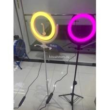 Кольцевая лампа 20 см со штативом разноцветный свет оптом