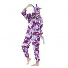 Кигуруми для взрослых Единорог с рисунком единорога фиолетовый оптом