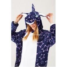 Кигуруми для взрослых Единорог фиолетовый с крупными звездами оптом