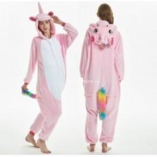 Кигуруми для взрослых Единорог розовый с ушками и радужным хвостиком оптом