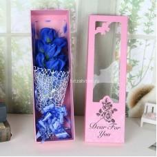 Букет Розы из мыла с зеленью в коробке (5 роз) оптом