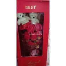 Букет Розы из мыла с двумя мишками оптом