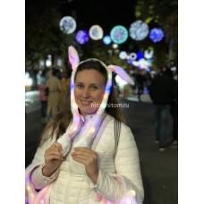 Светящиеся ободки двигающиеся уши зайца оптом